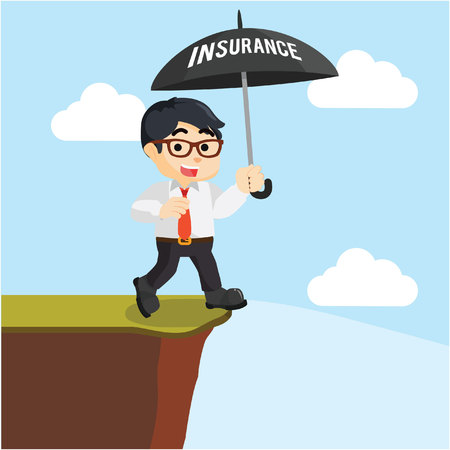 cliff edge: businessman wrong insurance umbrella