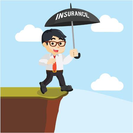 cliff edge: businessman wrong insurance umbrella