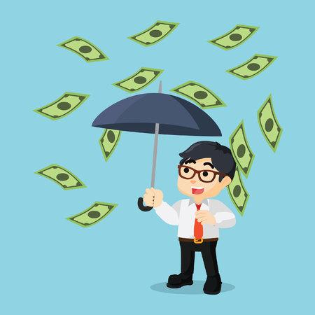 jovial: a jovial businessman because raining money