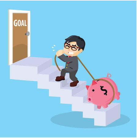 walk through: Entrepreneurs climb the ladder to reach the goal Illustration