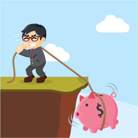 financial cliff: attract entrepreneurs piggy bank with ropes