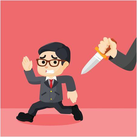 pursued: businessman running since pursued a knife Illustration