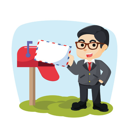 businessman receiving mail
