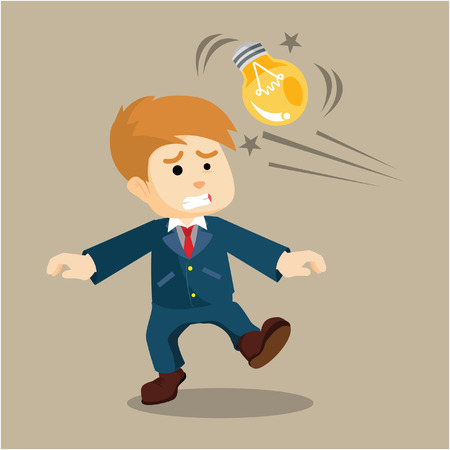 getting: businessman getting punch from the bulb Illustration