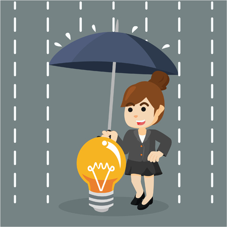 concept and ideas: businesswoman protecting her idea from rain