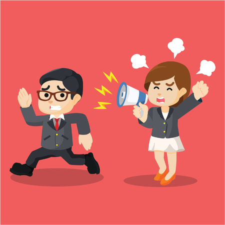 running businessman: businesswoman yelling at running businessman