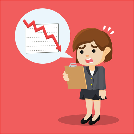 businesswoman shocked with decrease reportment Ilustrace