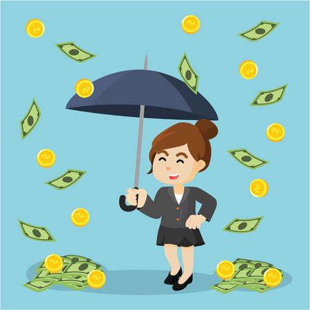 businesswoman happy because it was raining money Illusztráció