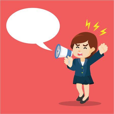 donna d'affari con un megafono per informare