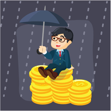 protect money: businessman protect money from rain
