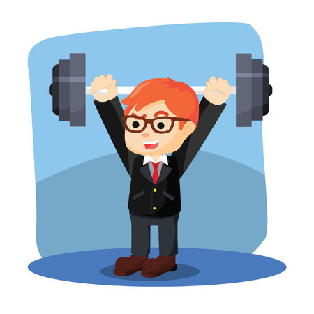 businessman happy lifting weights