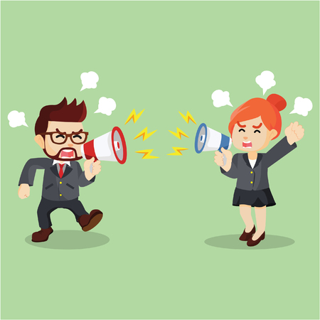 fighting: business fighting with using a megaphone Illustration