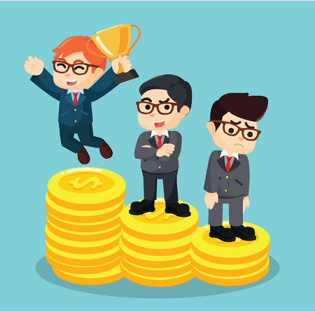 loser: businessman won and lost on the podium coins
