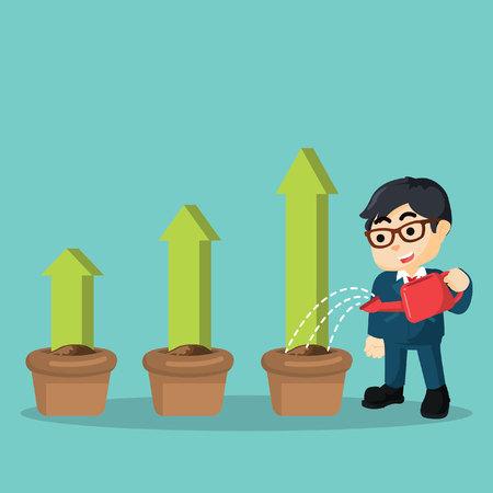 increasing: businessman watering plants increasing graphics