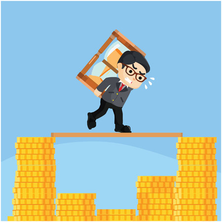 businessman running on top of stack of coin with hourglass Illustration