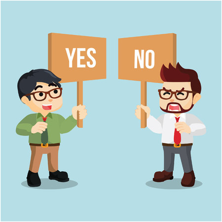 yes no: businessman holding sign yes or no