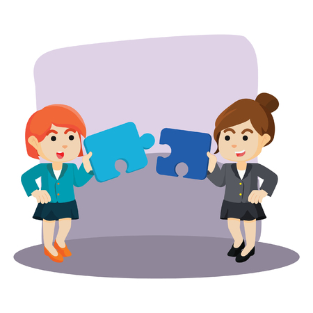 assemble: two businesswoman collaborate to assemble puzzle