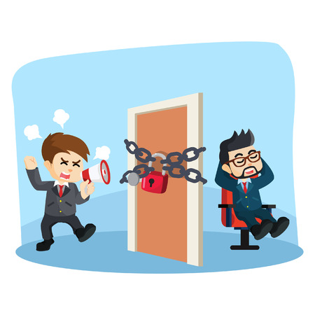 boss locked the door of a businessman shouting