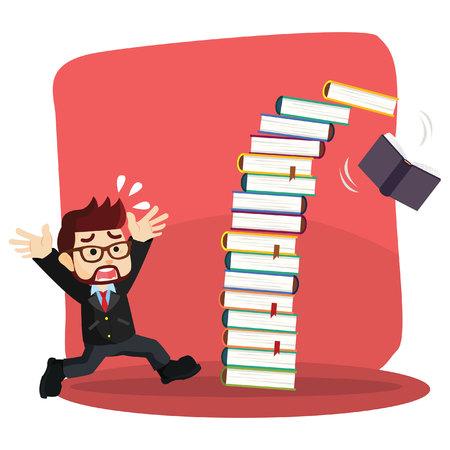panicked: businessman panic as books falling