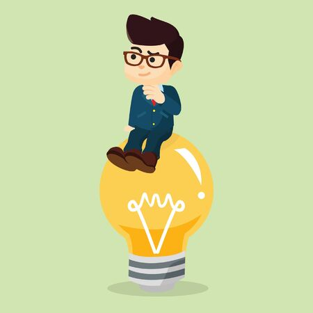 got: businessman sitting on the idea lightbulb