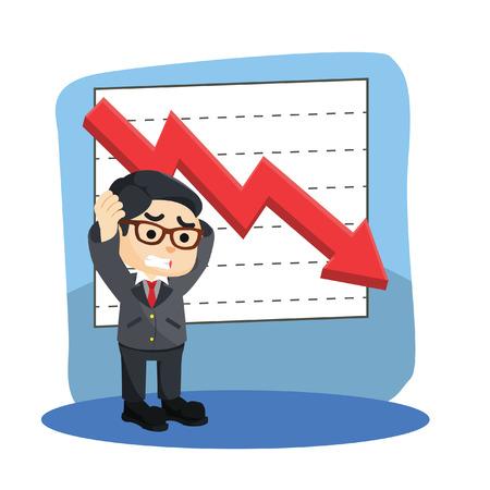 businessman stress with graphics down Ilustração Vetorial