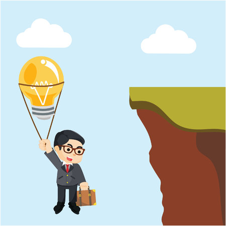 businessman flying with balloons bulb towards the cliff