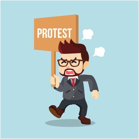 protest: businessman holding sign protest Illustration