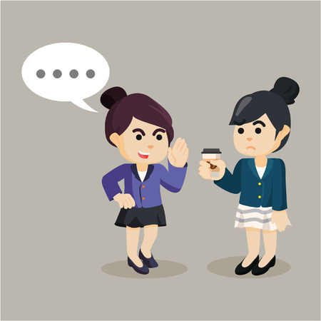 persuade: businesswoman persuade her friend to gossip