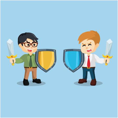 swordsman: two businessmen fighting using swords and shields