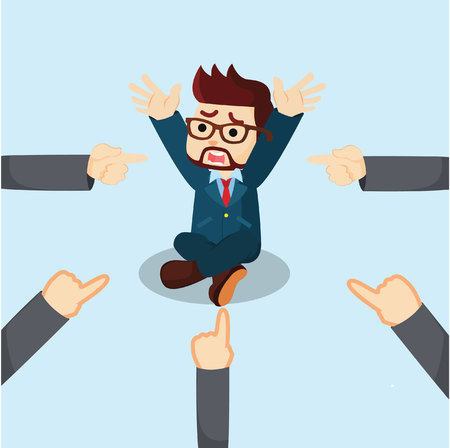 businessman panic all hands toward him Illustration
