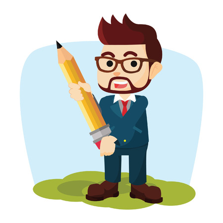 carrying: businessman carrying giant pencil Illustration