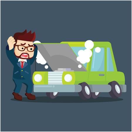 zakenman paniek zijn auto beschadigd