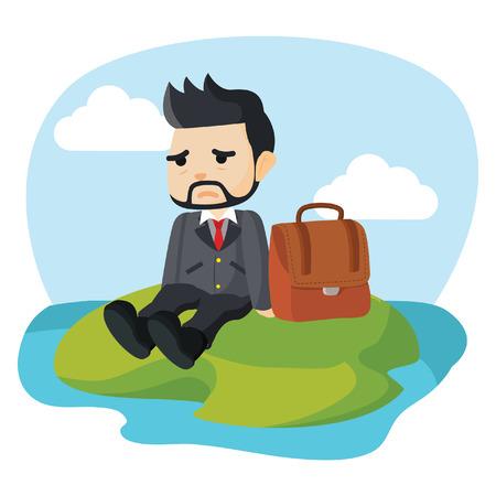 businessman stranded on a deserted island