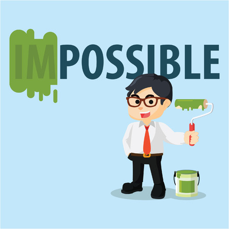 impossible: employee repainting impossible word Illustration