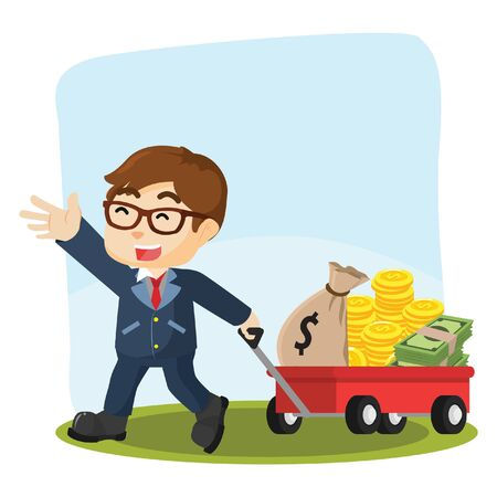 pulling money: businessman pulling cart with lot of money