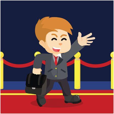 first steps: businessman walking on red carpet