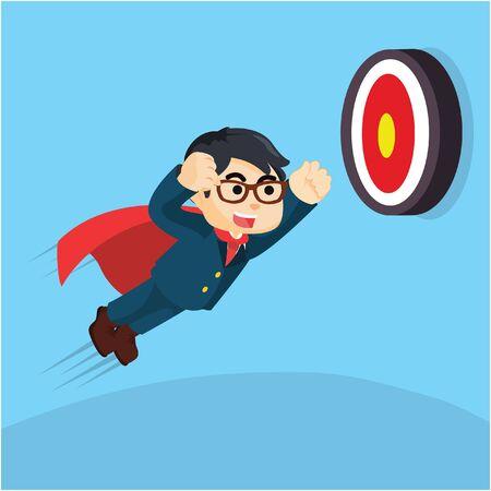 businessman super trying to hit target Illustration