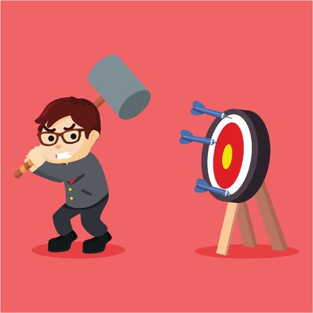 smash: Business man smash the target