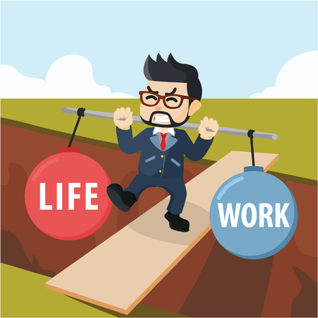 Business man stabilize between life and work