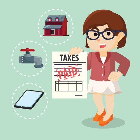 Femme d'affaires déjà payé des impôts Banque d'images - 60619338