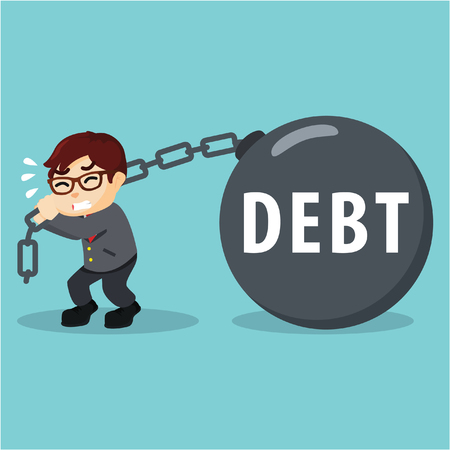 pulling: Business man pulling his debt