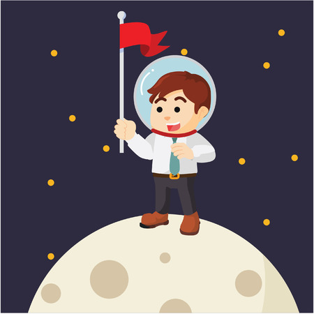 man on the moon: Man planting flag on moon Illustration