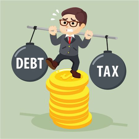tightrope walker: Business man stabilize between debt and tax Illustration