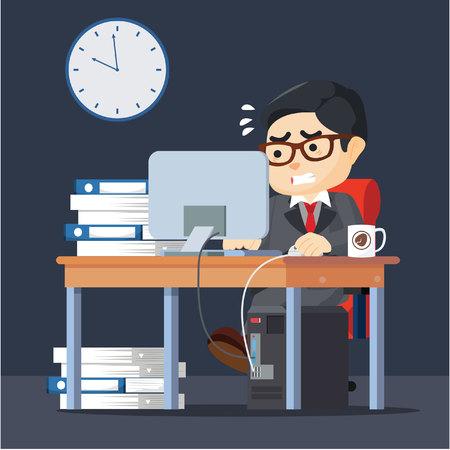 Hombre de negocios que trabaja duro Foto de archivo - 60619884