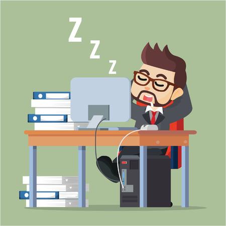 break from work: Business man sleeping at work