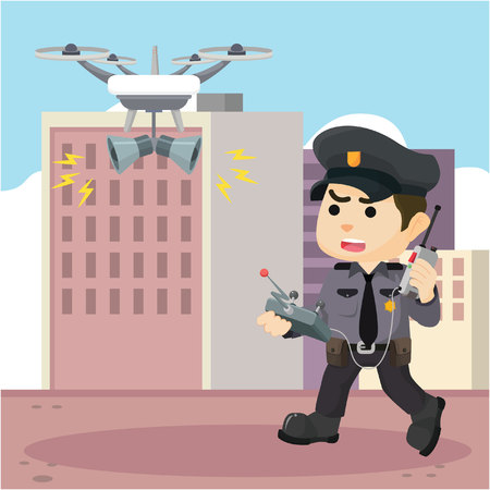 patrol: Patrol police with drone Illustration