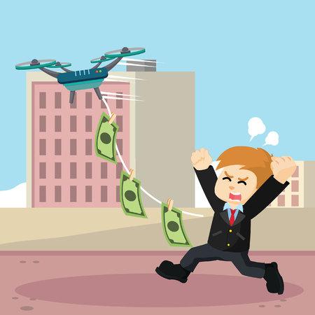 taking: Drone taking business man money