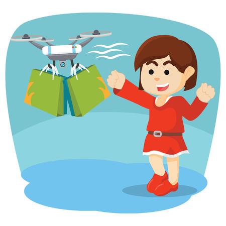 drone help woman bring her stuff Illustration