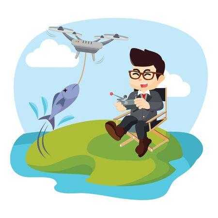 bobber: businessman fishing with drone Illustration