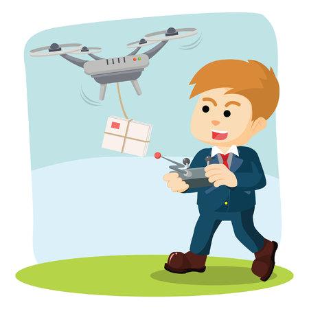 delivering: man using drone for delivering mail